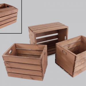 slatted three piece nested wood crate set