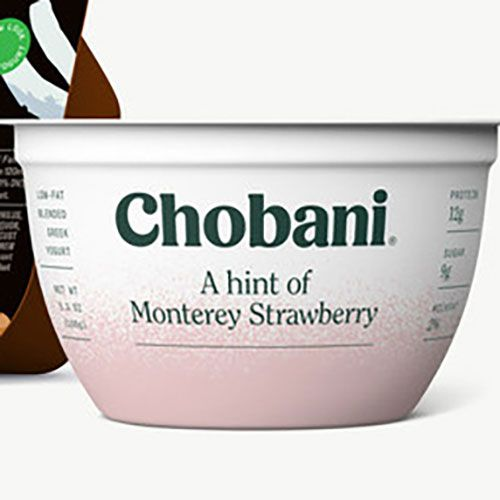 chobani with a hint of strawberry