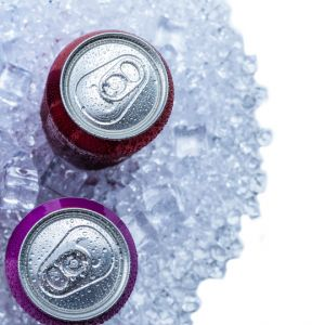 soda cans on ice
