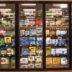 refrigerators full of beer selections