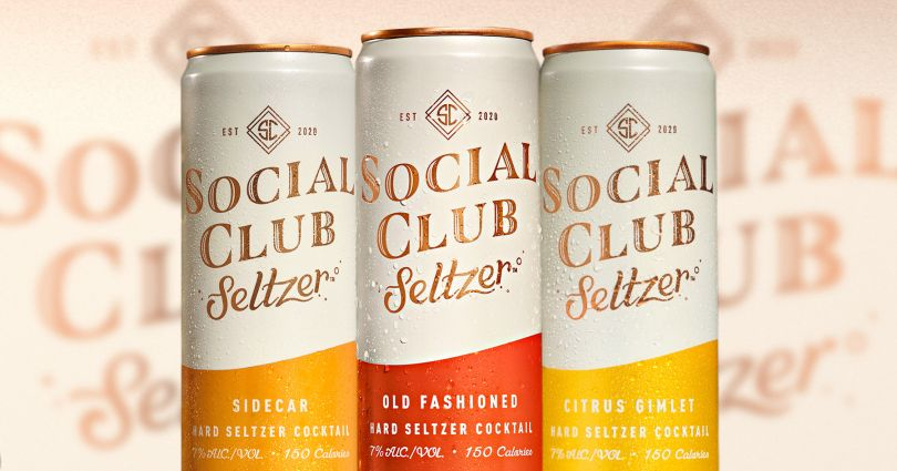 Cans of Social Club Seltzer