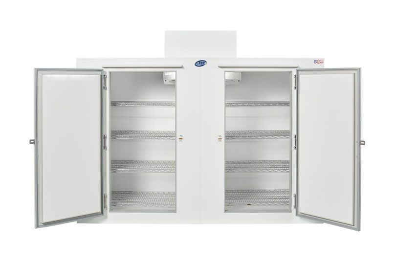 reach-in storage freezer open