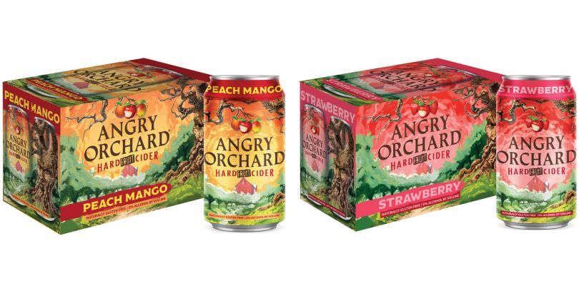 Angry Orchard Peach Mango and Angry Orchard Strawberry