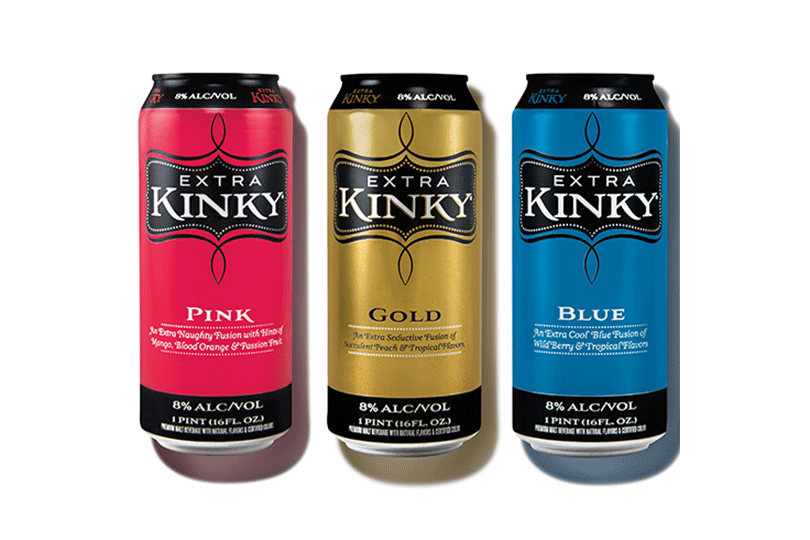 Extra Kinky Pink, Gold and Blue spirits