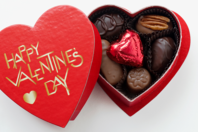 happy valentines day chocolate box