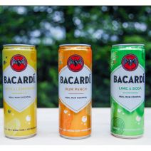 Bacardi rum cocktails in a can