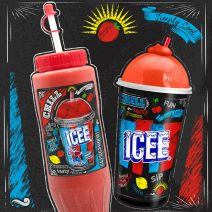 Icee design, cup and promotional bottle