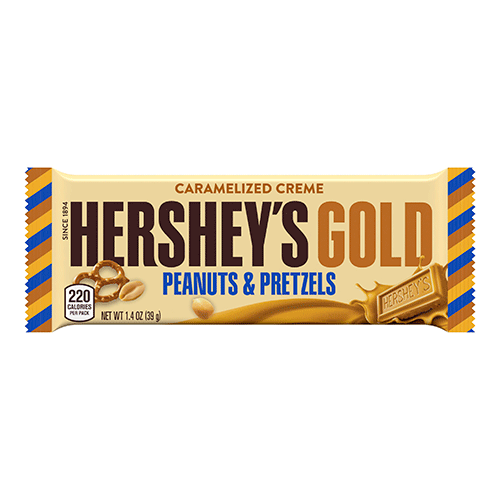 Hershey's Gold bars contain caramelized cream and salty peanut and pretzel bits. The new-product launch ties in with Hershey's official sponsorship of the 2018 Olympic Winter Games. A 1.4-ounce bar is available for an SRP of 99 cents, and a king size 2.5-ounce bar has an SRP of $1.69.