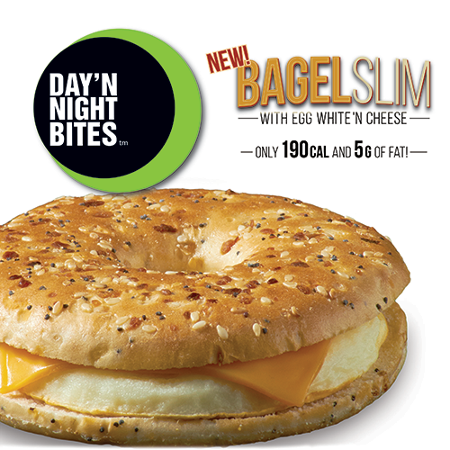 day n night bagel slims with egg and cheese